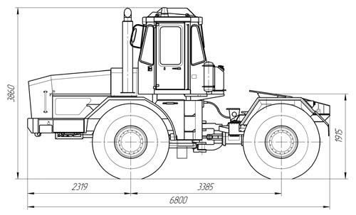 Трактор-тяговый К-701Т на базе тракторов K-701 схема