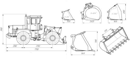 Схема погрузчика леса К-702М-ПЛК-6-Т ( с доп. оборудованием)