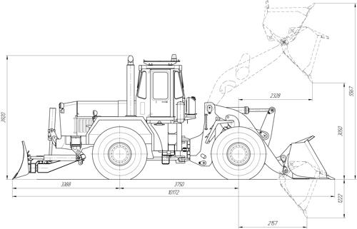 Схема универсальной дорожной машины К-702МВА-УДМТ на базе тракторов K-702 (2)