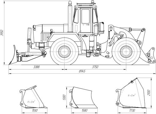 Схема универсальной дорожной машины К-702МВА-УДМТ на базе тракторов K-702